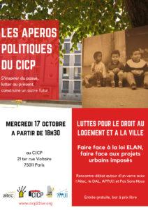 Luttes pour le droit au logement et à la ville – faire face à la loi ELAN , faire face aux projets urbains imposés @ CICP